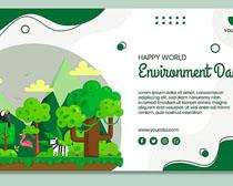 树木环保宣传模板矢量素材