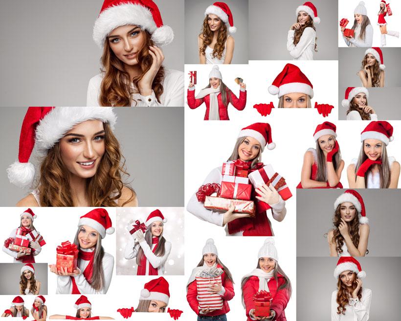 開心的圣誕服女孩寫真攝影高清圖片