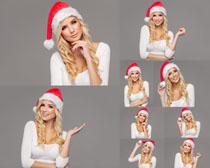 圣诞帽金发美女写真拍摄高清图片