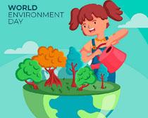 小女孩浇水爱护植物PSD素材