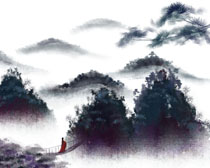 树木云雾古典风绘画PSD素材