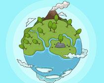 地球环保绿化绘画矢量素材