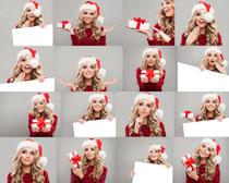 圣诞美女与礼物拍摄高清图片