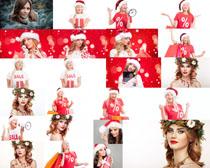 国外圣诞美女与礼物拍摄高清图片