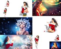 梦幻圣诞美女写真拍摄高清图片