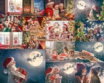 开心过圣诞节家庭人物摄影高清图片