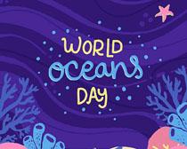 卡通海底世界绘画矢量素材