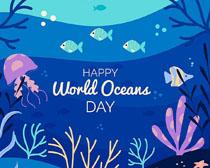 海底生物世界绘画矢量素材
