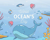 海底鱼世界绘画矢量素材