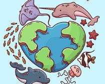 环保地球海鱼绘画矢量素材