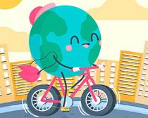 自行车环保地球城市矢量素材