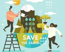 卡通人物环保地球矢量素材
