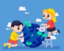 环保爱护地球卡通人物矢量素材