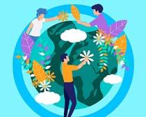爱护地球植物环保矢量素材