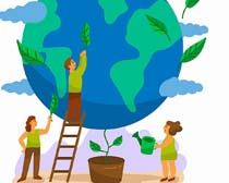 绿色植物地球环保矢量素材