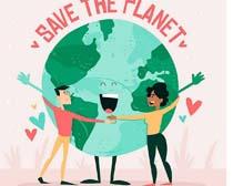 卡通环保地球绘画宣传矢量素材
