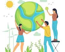 爱护地球卡通人物矢量素材
