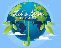 地球保护伞绘画矢量素材