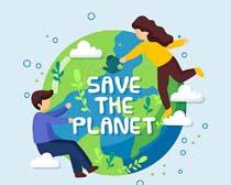 地球卡通人类保护矢量素材