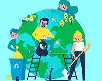 绿色地球环境卡通人类矢量素材