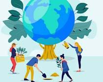 地球植树环保绿色矢量素材