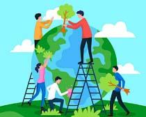 地球植树卡通人类绘画矢量素材