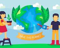 环保地球浇水儿童矢量素材