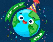 庆祝卡通地球绘画矢量素材