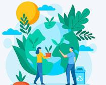 植物绿化环保地球矢量素材