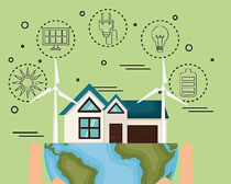建筑风车发电环保矢量素材