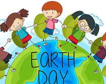 卡通儿童环境地球日矢量素材