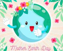 快乐卡通可爱地球矢量素材