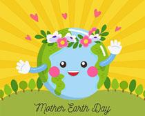 卡通快乐地球环保矢量素材