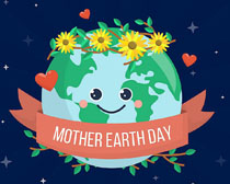 关爱地球日卡通绘画矢量素材