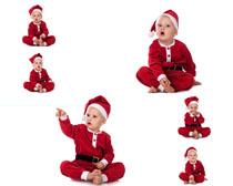 国外宝宝圣诞服装写真摄影高清图片