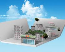 剪纸风建筑图设计PSD素材