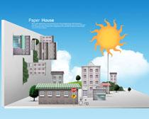 创意剪纸风建筑物设计PSD素材