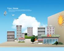 建筑广场房屋剪纸艺术PSD素材