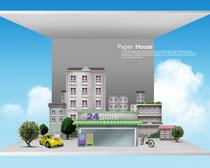 城市剪纸风建筑艺术PSD素材