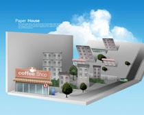 楼房与商场剪纸风设计PSD素材