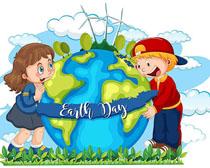 爱护地球环境卡通儿童矢量素材