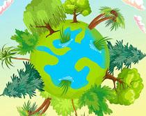 地球绿化森林环境矢量素材