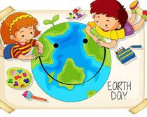 儿童绘画地球矢量素材