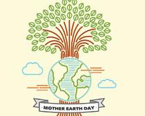 地球与树木环保矢量素材