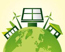 地球环保房屋太阳通风车矢量素材