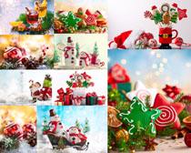 圣誕雪人禮物裝扮攝影高清圖片