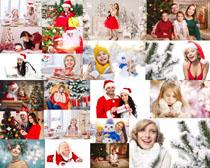开心的国外圣诞人们摄影高清图片