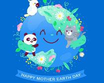 卡通动物地球日矢量素材