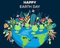 地球与花朵环境矢量素材