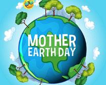 蓝色树木环保地球矢量素材